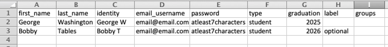 Screenshot of Single Educator License CSV file sample