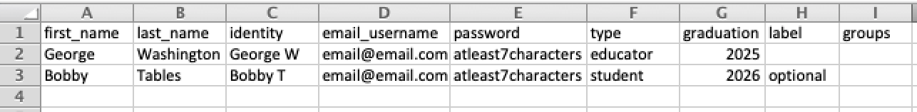 Screenshot of a sample CSV file for School License