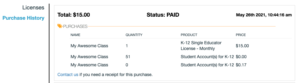 Screenshot of the purchase history page showing a p purchase of a monthly single instructor license.
