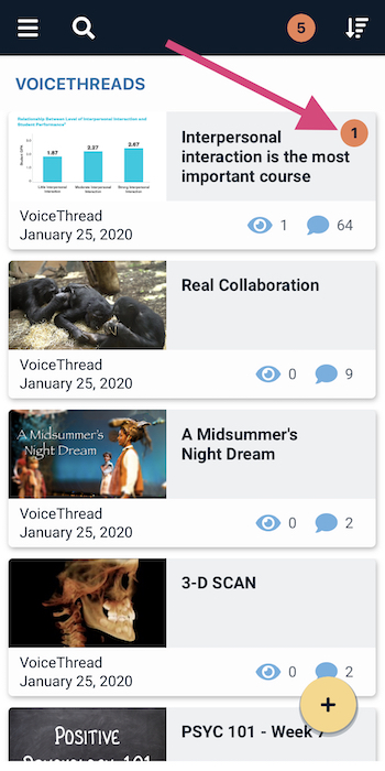 Screenshot of a VoiceThread thumbnail with 1 new comment listed