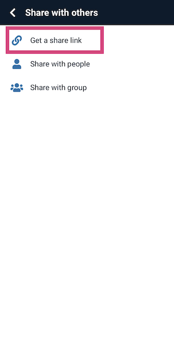 Screenshot of the button to copy the share link