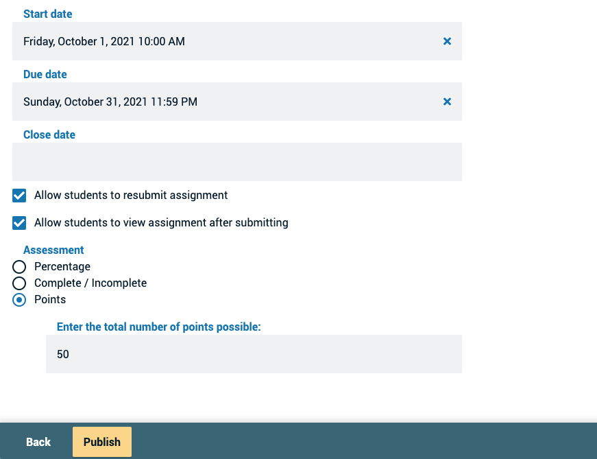 Screenshot of the finalize page showing the assignment name and assignment details fields