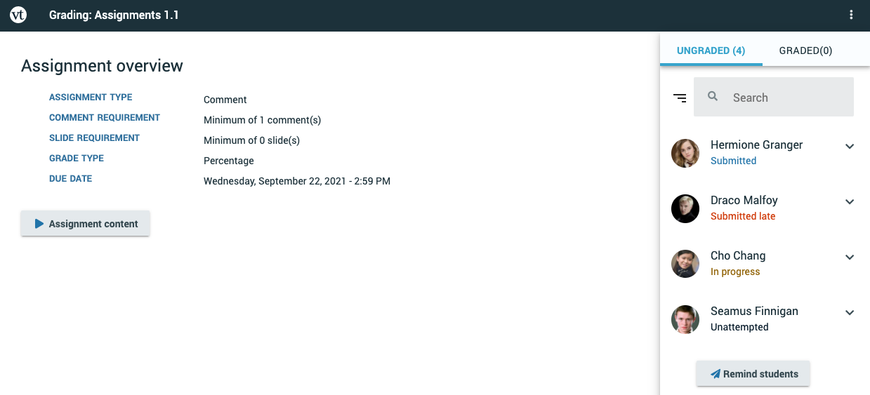Screenshot of the grading interface with student roster listing students who have submitted already