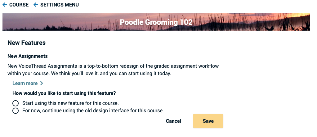 Screenshot of the interface for enabling new assignments for an individual course