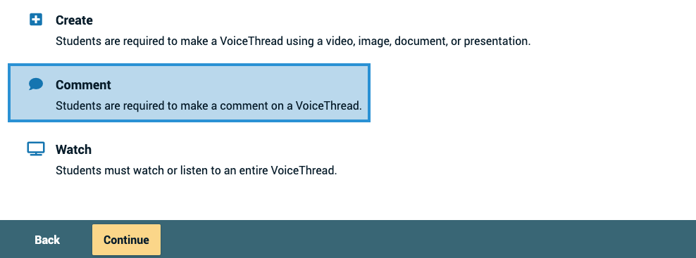 Screenshot of the comment button on the setup page with the continue button highlighted