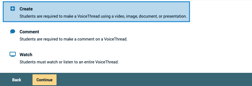 Screenshot of the Create button on the setup page with the continue button highlighted