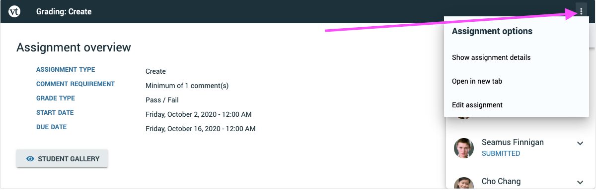 Screenshot of the finalize page with the assignment title and description fields