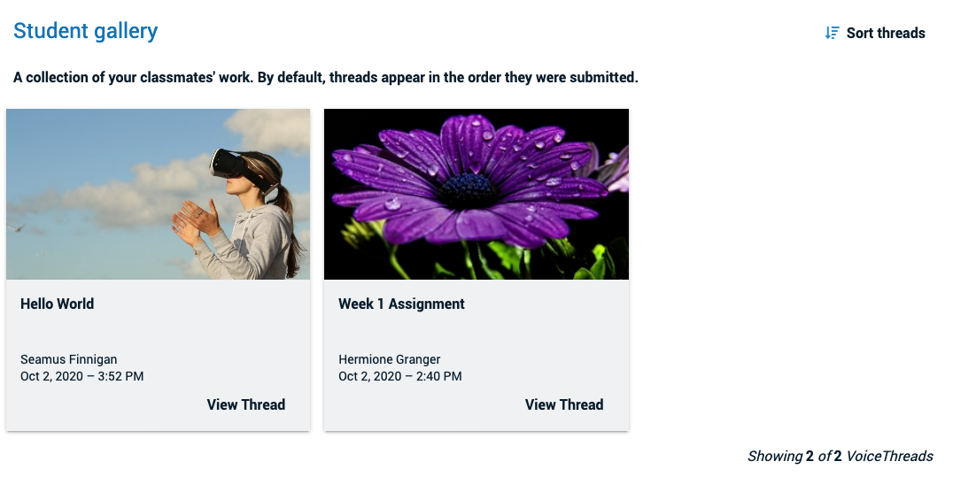 Screenshot of the student gallery with two VoiceThread thumbnails and the button to view thread