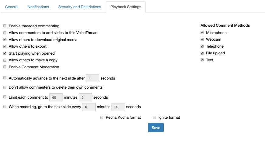 Screenshot of playback settings