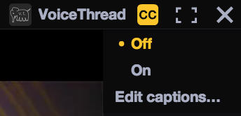 Screenshot of closed caption interface in standard VoiceThread site